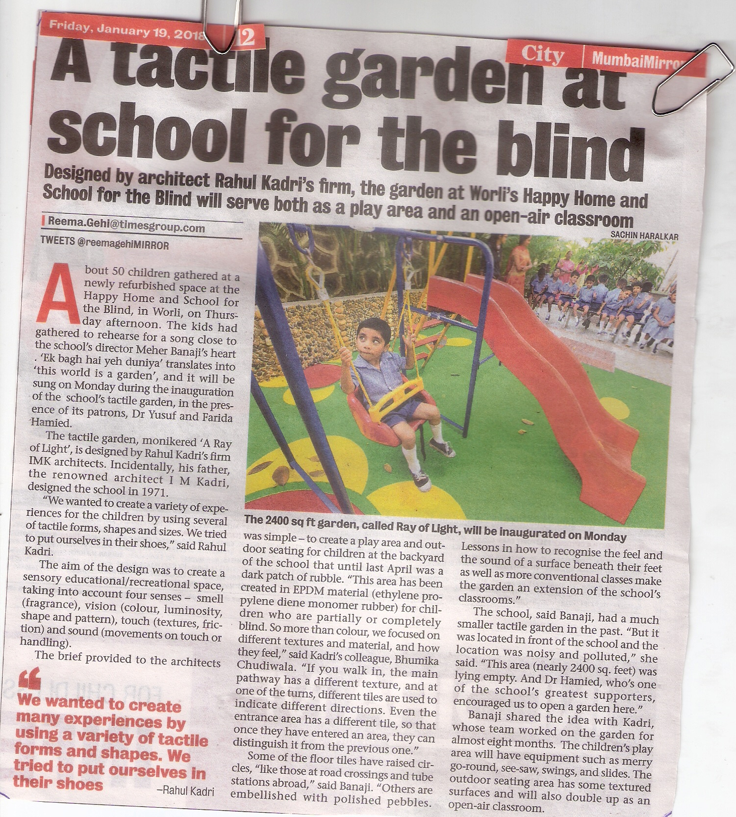 A tactile garden at school for the blind (TOI Fri19Jan18pg.12)