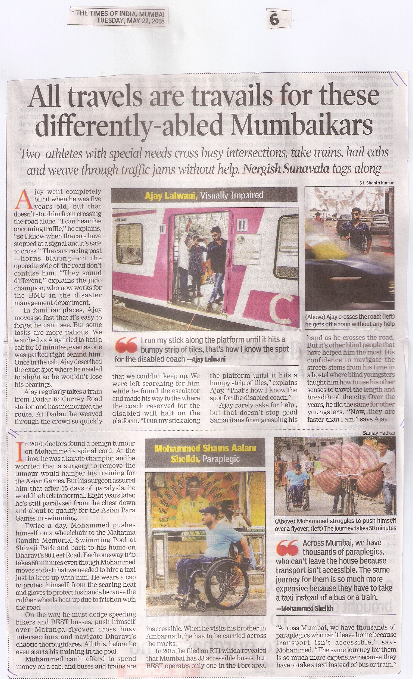 All travels are travails for these differently-abled Mumbaikars (TOI Tues22May18pg.6)