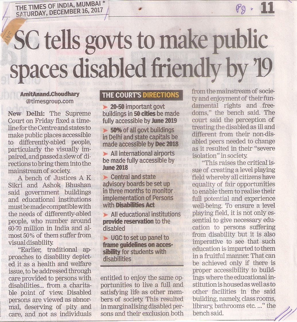 SC tells govts to make public spaces disabled friendly by '19 (TOI Sat 16 Dec17 Pg.11